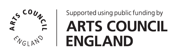 Arts Council England Logo badge in black text, reads Supported using public funding by Arts Council England