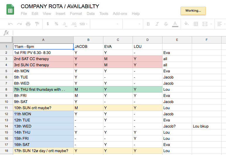 screenshot of a google spreadsheet showing a diary of dates in the far left column with the names Jacob Eva and Lou in the first row. The spreadsheet shows the schedule of the 12o members over the course of the project.