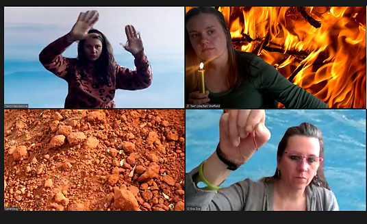. Four zoom tiles, top left Veronika on a blue background, arms up with palms facing the camera. Top right Tee, holding a lit golden candle with a fiery background. Bottom left is an orange earthy background with no body in it. Bottom right Eva has a hand up near the camera with a watery blue background.