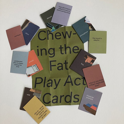 a photo of 13 different colour publications placed around the edges of a olive green poster with the words 'chewing the fat play act cards in large black font on it'