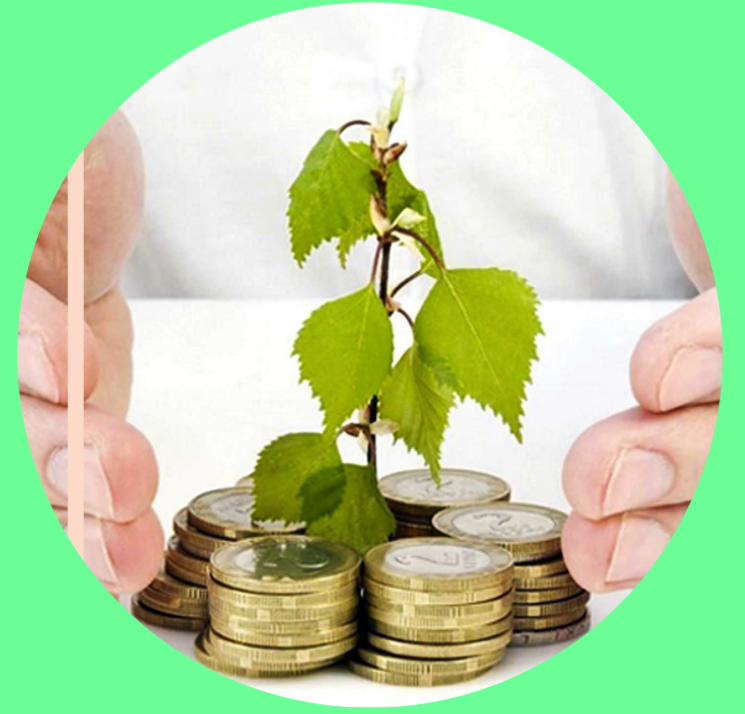 A circle photo within a green neon square, inside the circle photo is a close up stock image of hands gentle placed around a pile of gold and silver coins with a small plant with 6 leaves growing from the center. the money and hands are on a white table, the person behind is wearing a white shirt.