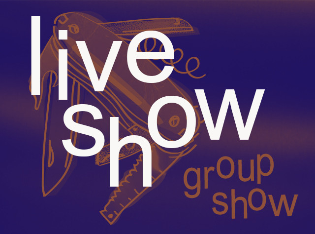 White test says 'live show' on top of a darkened group show logo of a pen knife with text saying 'group show'.