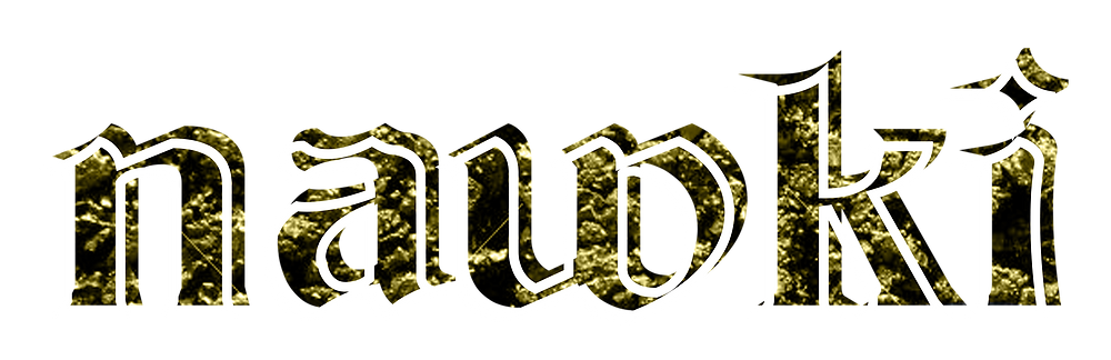 the nawki logo, in gothic font all lower case, in white outline , the fill colour is yellow gold in the texture of earth of stones.