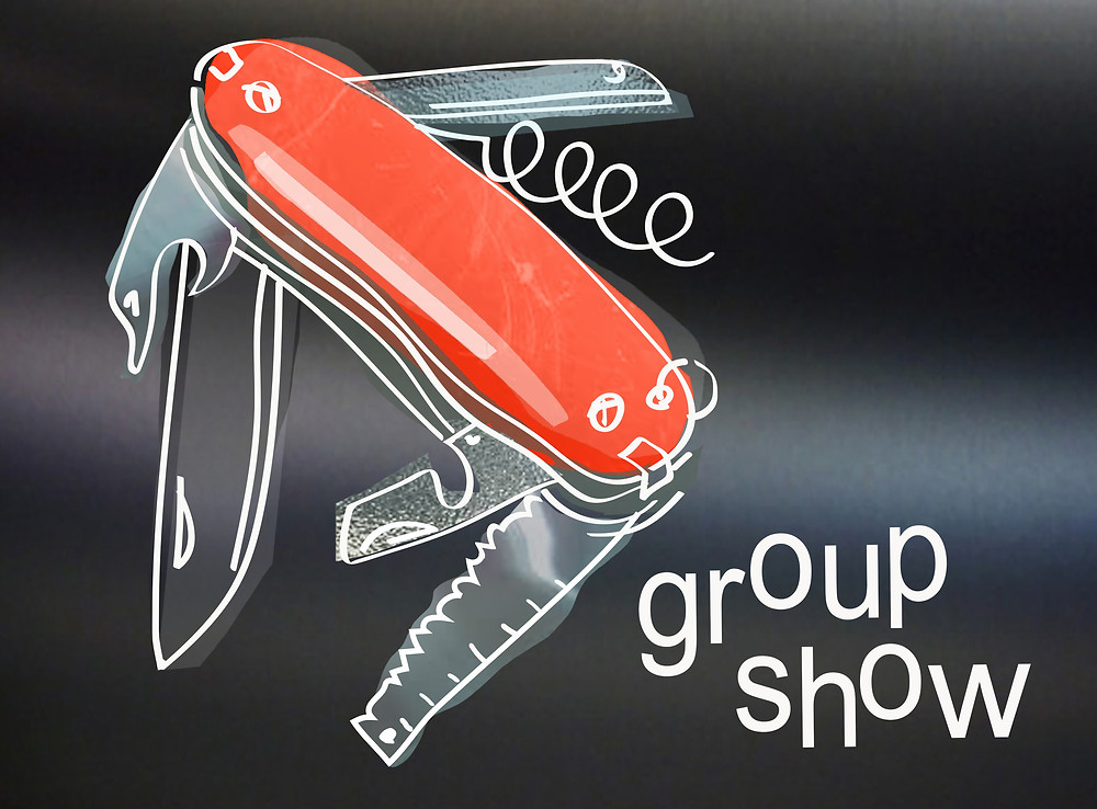 a graphic image of a swiss army knife, the central part is a transparent red , there are 4 blades a bottle opener and cork screw shapes coming of the central sausgae shape , each blade has the texture of metal and the whole graphic is outlined with a drawing in white. the background is gradient grey and there is the title Group Show text in the right bottom corner.