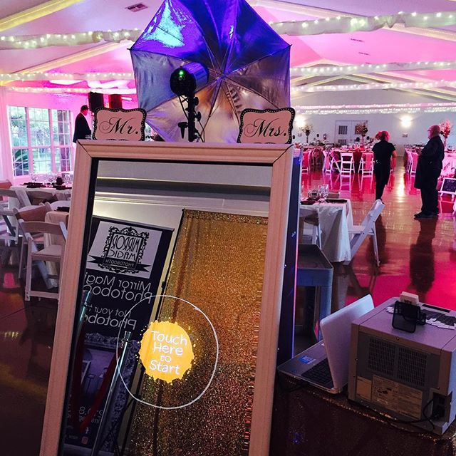 Set up tonight at _granberryhills ! Congrats Kelsey and Jared! #mirrormagicphotobooth #saweddings #p
