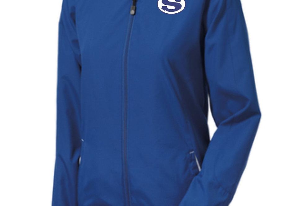 4SW021L76SCA    Sport-Tek® Ladies Colorblock Hooded Raglan Jacket