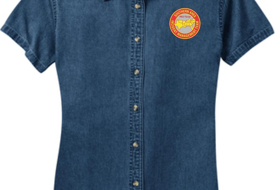 4SW022L11RDT    Ladies Short Sleeve Value Denim Shirt