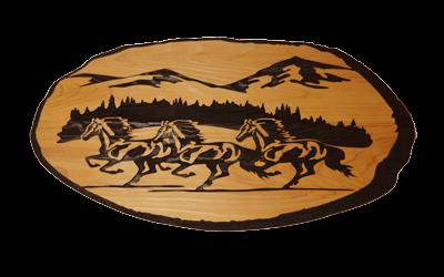 Wild Horses Cedar Sign