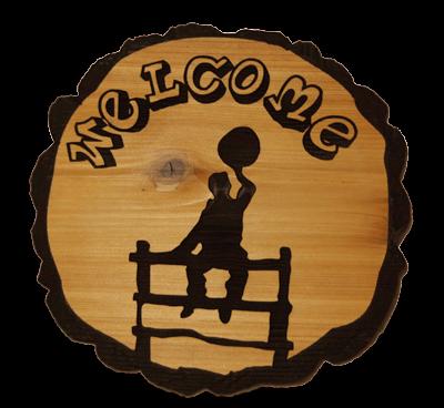 Cowboy Welcome Cedar Sign