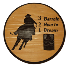 321 Barrel Racing Cedar Sign