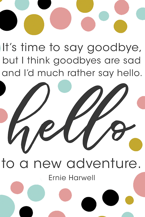 """Hello to a New Adventure"" Goodbye Greeting Card"