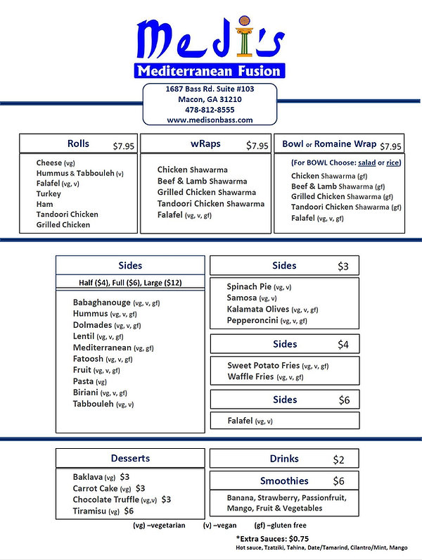 Menu with Rice or Salad and Romaine Wrap