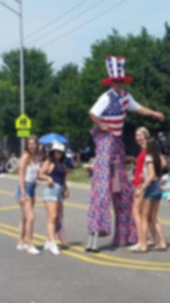 Stilt Walking at a 4th of July parade
