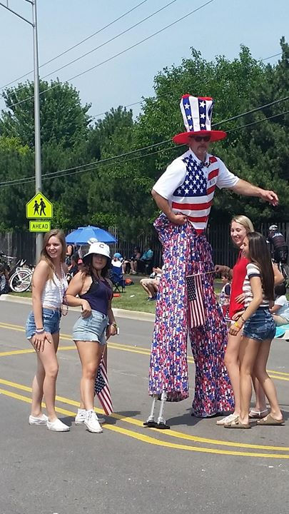 Stilt Walking at a 4th of July parade