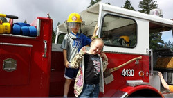 Students on fire truck