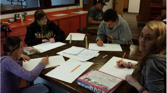 GHS kids doing classwork