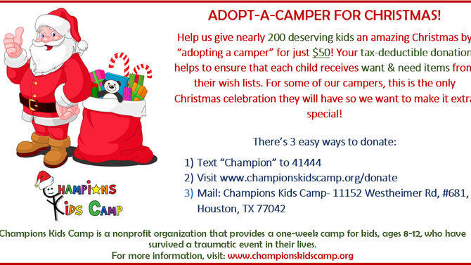 Adopt a Camper for Christmas 2016