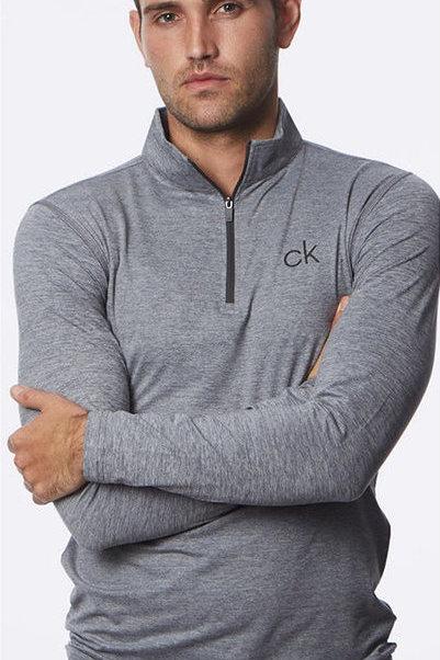 Calvin Klein Newport Grey Navy Half-Zip Sweater