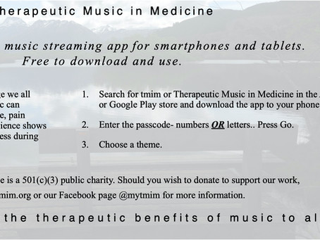 Broadcasting the therapeutic benefits of music to all...during the pandemic.