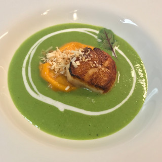 Scallop Pea, Carrot-Ginger Soup