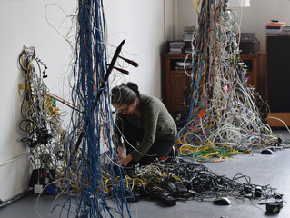 "Article from ARTFIXdaily: ""Artist Creates Ethereal Sculptures From Discarded Cables, Electrical"