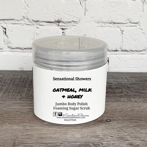 Jumbo Oatmeal, Milk & Honey Body Polish, Whipped Soap Sugar Scru