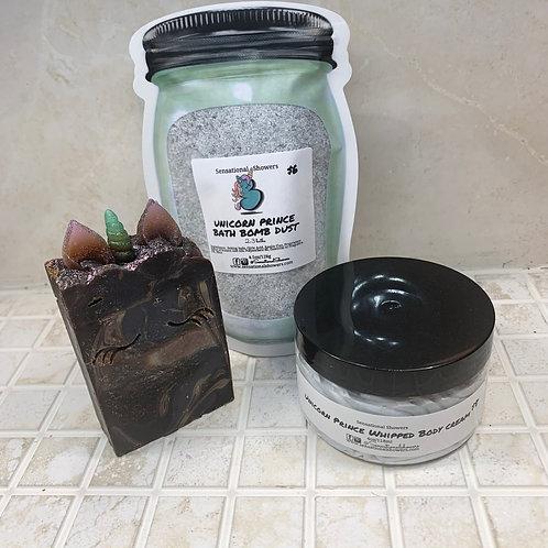Unicorn Prince Set; Vegan Artisan Soap Bar, Whipped Body Cream, Bath Bomb Dust
