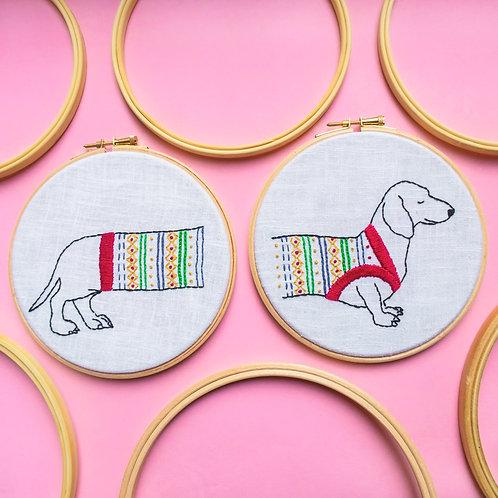Sausage Dog Embroidery Kit