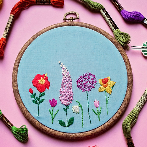 Spring Flowers Embroidery Kit