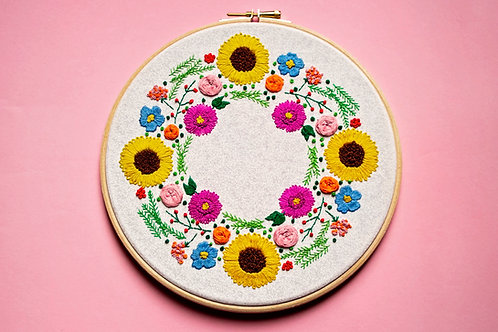 Summer Wreath Embroidery Pattern