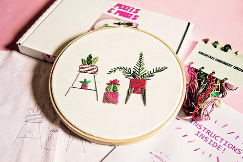 Houseplants Embroidery Kit