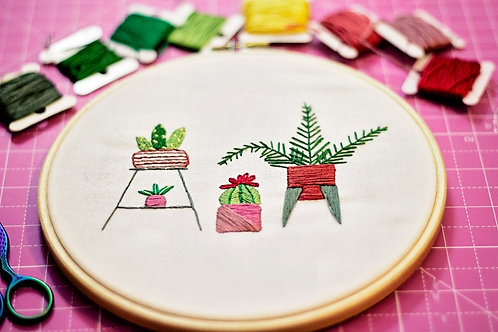 Houseplants Hand Embroidery Pattern - Perfect For Beginners!