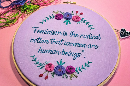 Feminist Quote Embroidery Pattern