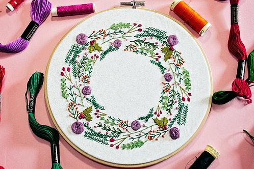Winter Wreath Embroidery Pattern