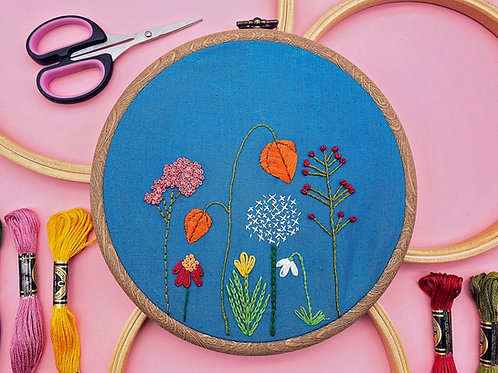 Autumn Flowers Embroidery Kit