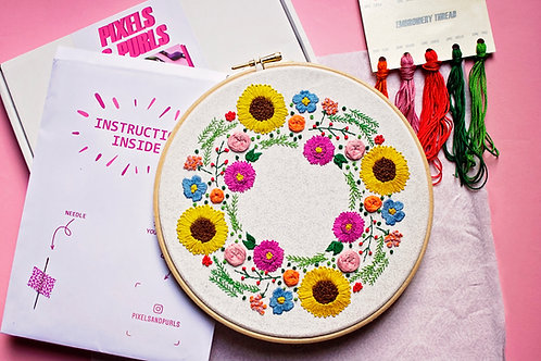 Summer Wreath Embroidery Kit
