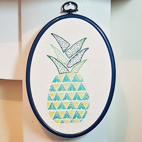 Pineapple Hand Embroidery Pattern - Perfect For Beginners!