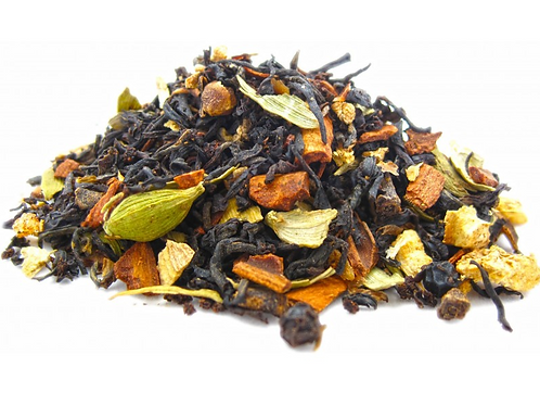 Cinnamon, Ginger, Vanilla (Classic Chai).  Makes a great Chai Latte!