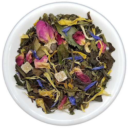 Mango Rose, a low in Caffeine Tea, Great for an afternoon Tea. Hot or Iced.
