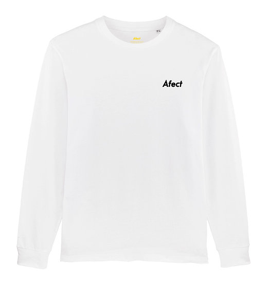 Afect long sleeve white sustainable unisex streetwear