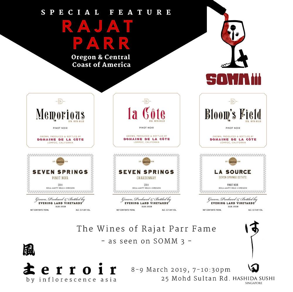 Domaine de la Côte and Evening Land Vineyards Tasting at Terroir Wine Bar, Singapore