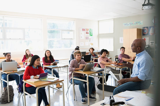 Students in classroom with technology