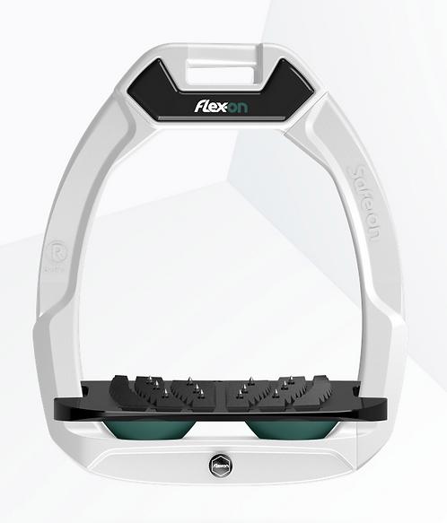 Flex-On Safe on cadre blanc incliné ultra grip noir élastomères vert anglais