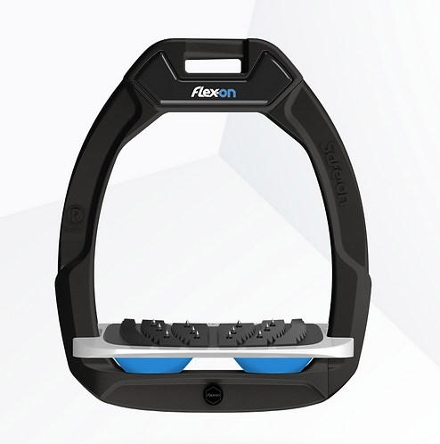 Flex-On Safe On cadre noir incliné ultra-grip gris élastomères bleu clair
