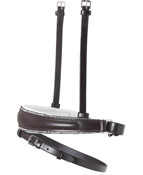 SD Design - Muserolle avec strass argentés, cuir marron/blanc. R-793