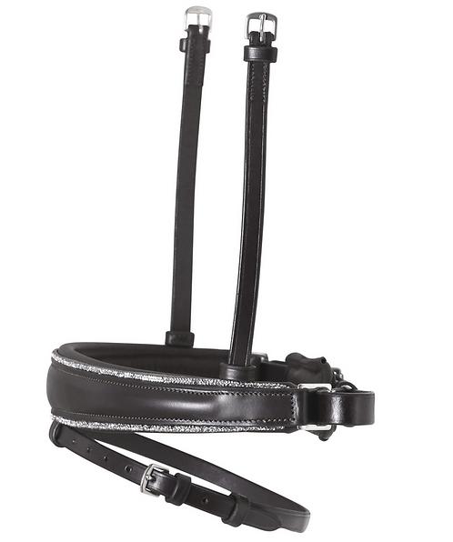 SD Design - Muserolle avec strass argentés, cuir noir/noir. R-855
