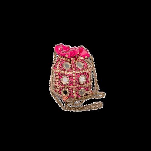Buideltasje versierd met spiegel - roze