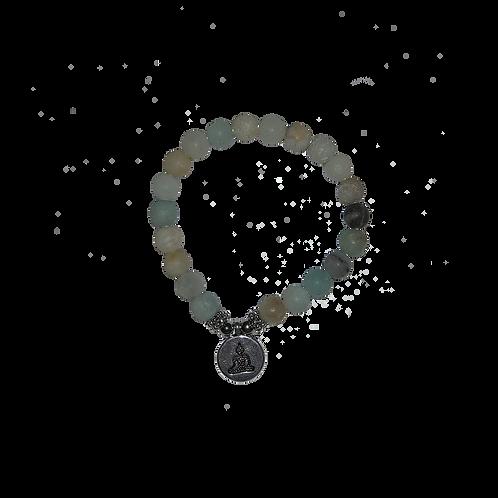 Mala/armband amazoniet elastisch met boeddha