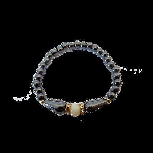Hematiet armband - wit met elastiek