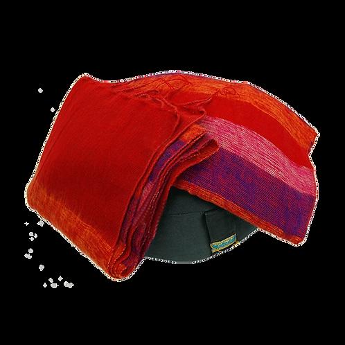 Meditatie omslagdoek - Rood met strepen
